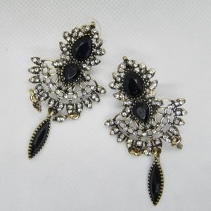 Gold plated Black Crystal Chandelier Earrings